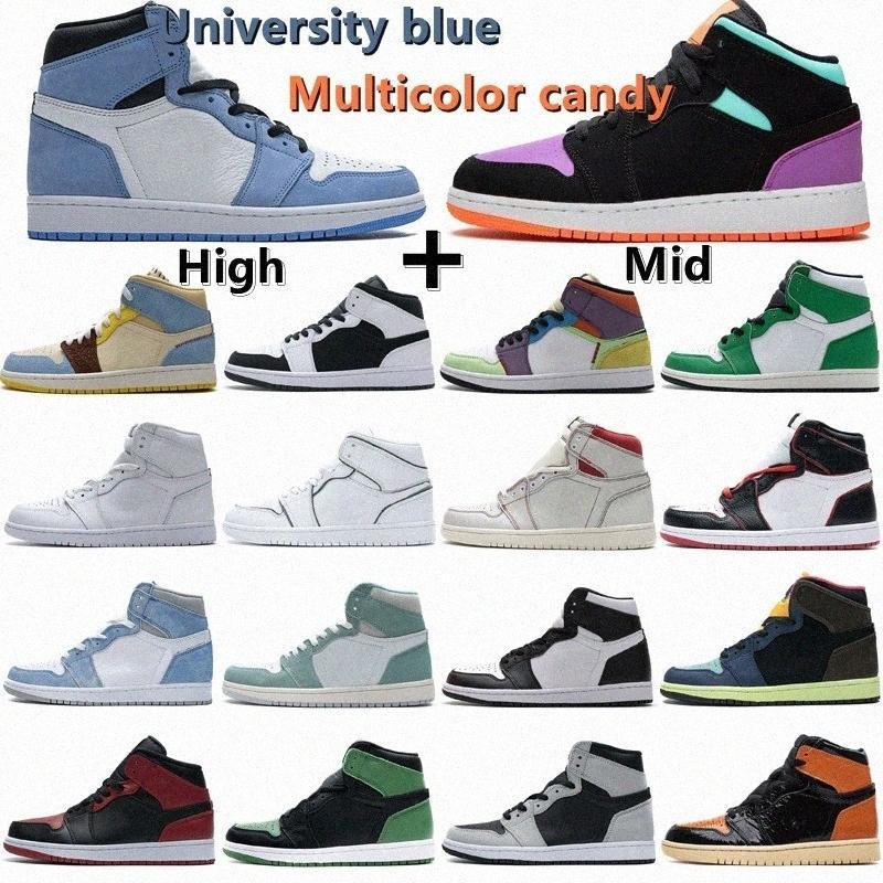 air jordan 1 retro 2021 sapatos de basquete de alta OG 1S Mid Chicago Royal Toe Black Pine Metallic Verde Negro Obsidiana UNC Patent Homens Mulheres Sneakers Treinadores