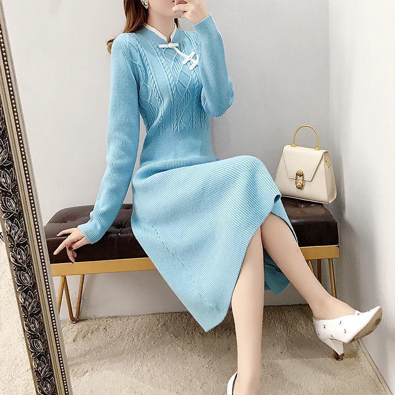 Повседневные платья 2021 осень зима вязание свитера платье женщин плюс размер синий теленок длина винтажная длинная женская одежда X368