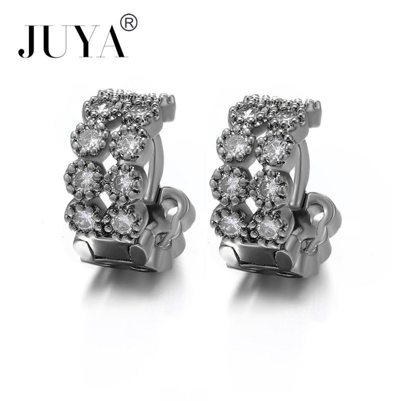 orecchini cerchi 2021 NEW Design Copper Zircon Rhinestone Huggie Earrings for Women 4 Colors Round Hoop Earrings Statement gift
