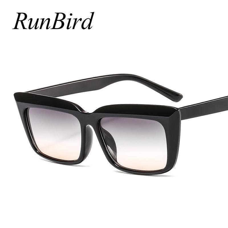 Sonnenbrille Runbird Vintage Quadratische Frauen Mens Sonnenbrille Weibliche Mode Niet Black Eyewear Gafas de Sol 5487