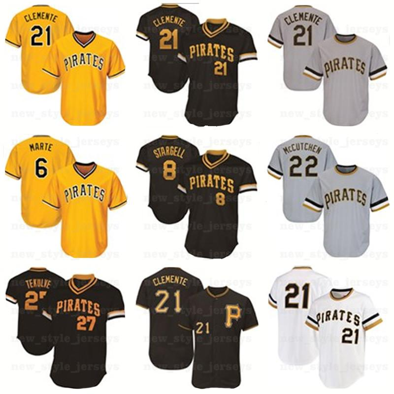21 Roberto Clemente 27 Kent Tekulve 29 Francisco Cervelli 8 Willie Stargell 6 Starling Marte Collection Maillasse Baseball Maillons N4