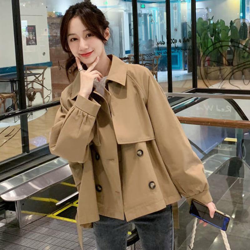 المرأة الخندق معاطف الكاكي الكورية قصيرة سترة واقية سترة المرأة أزياء أنيقة فضفاضة مزدوجة الصدر معطف الخريف خمر عارضة طويلة الأكمام