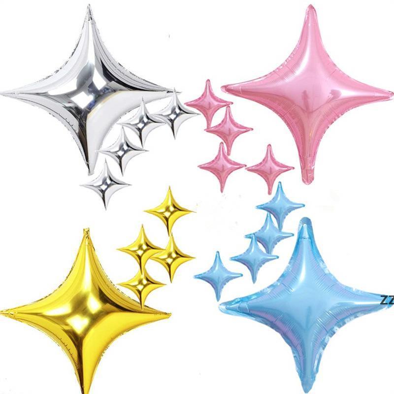 Четыре острые звездные алюминиевые фольги шаржа шаржа день рождения день рождения бокал украшения воздушные шары свадебные принадлежности Рождество hwb7509