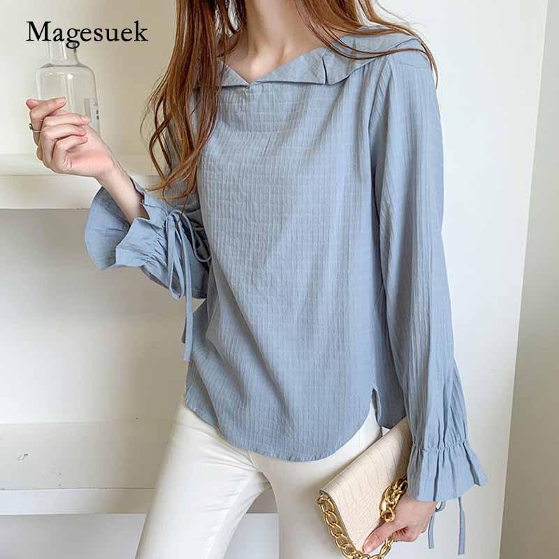 2021 Осенние женщины разворотный воротник пуловер боковой сплит рубашка лук манжеты длинные вспышки рукава твердая синяя блузка blusas mujer 11247