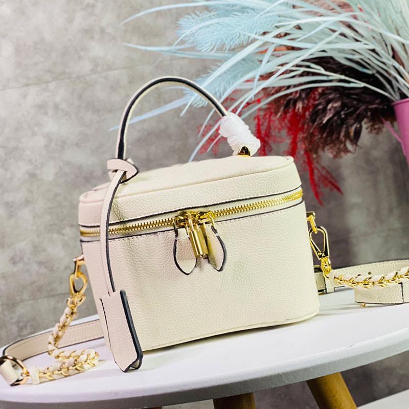 화장품 가방 크로스 바디 가방 꼰 체인 지갑 패션 정품 가죽 엠보싱 탑 핸들 분리형 조정 가능한 어깨 끈 고품질