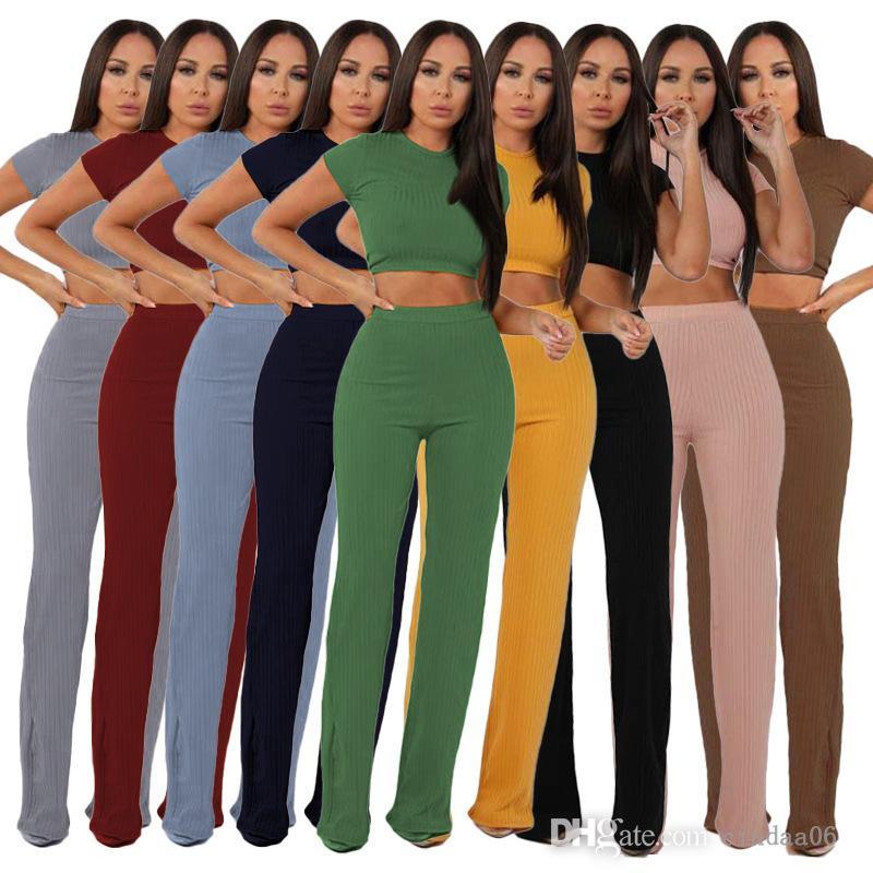Kadınlar İki Parçalı Pantolon Set Moda Eğlence Kısa Kollu Suit Yüksek Elastik Pamuk Geniş Bacak Pantolon