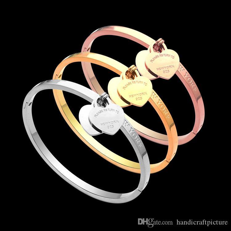 Designer di gioielli di lusso Donne Braccialetto in stile caldo alfabetico doppio cuore braccialetto a forma di cuore braccialetto oro regalo