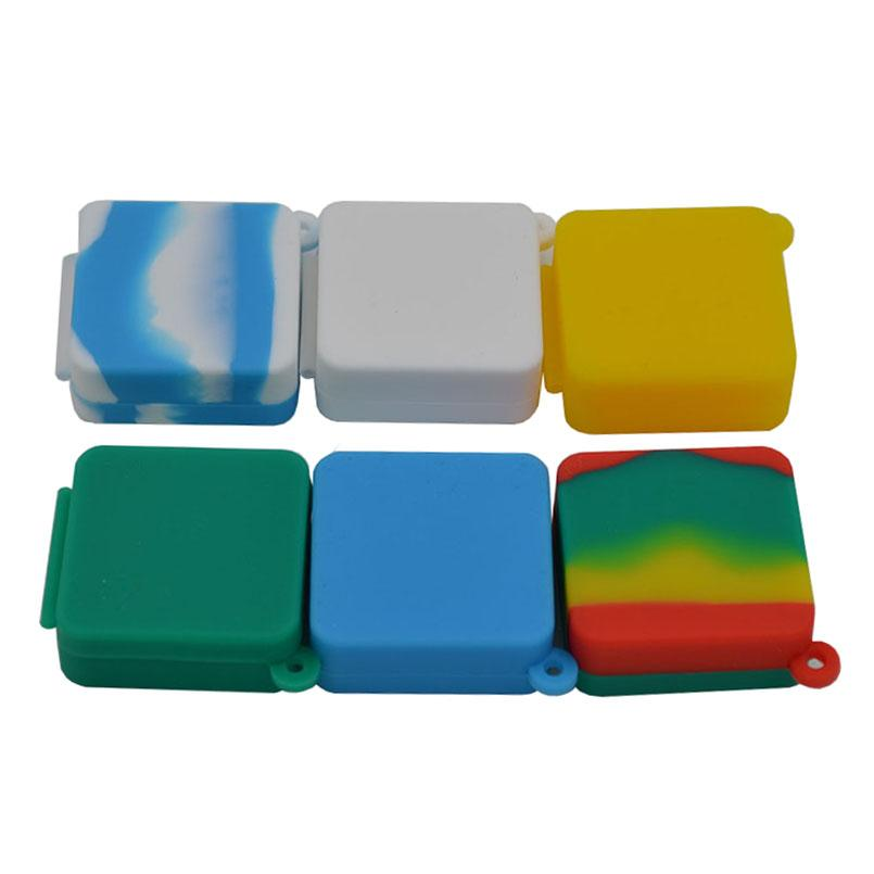 Nonstick wax containers 9ml block shape silicone container food grade jars dab tool storage jar oil holder for vaporizer smoking accessories