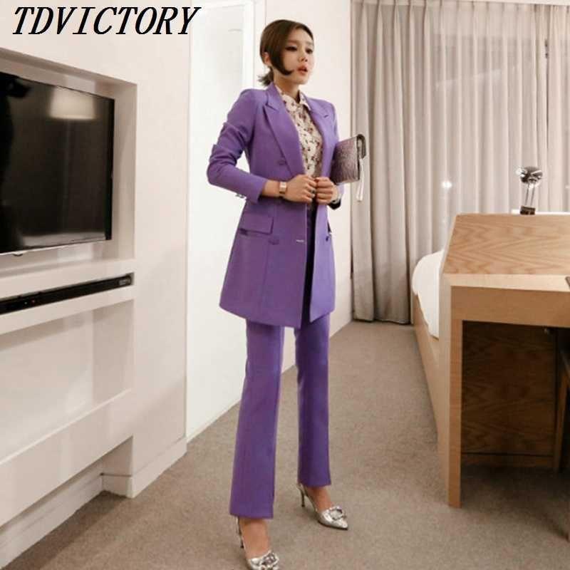 TDVictory coréen Haute Qualité Femmes Travailler Deux pièces Ensemble Business Long Blazer Long Blazer Slim Pantalon 210602