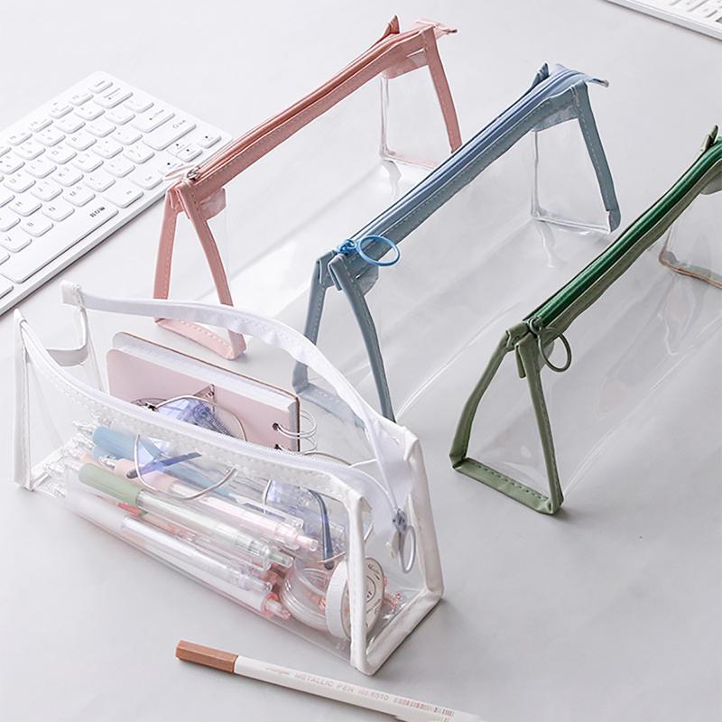 Sacos de Armazenamento Sacos de Grande Capacidade Lápis de Lápis Transparente Bolsa de Escola Portátil Suprimentos