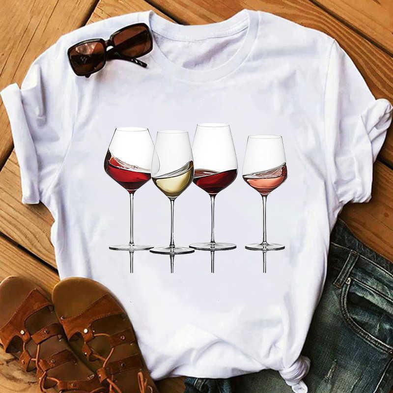 Copa de vino Tshirt Tshirt T Shirt Funny T Shirt Impreso Camiseta Mujer Manga corta Tshirt Lady Yong Girl Top TEE TEE CALIDAD X0527