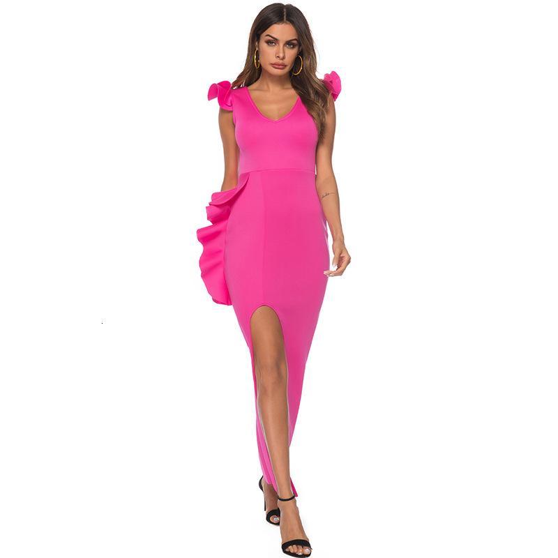 Partykleider Sexy V-Ausschnitt Open Rücken Große Frauen Hohe Taille Split Sleeveless Slim Party Kleid