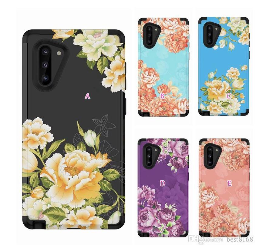 Casos à prova de choque flor para Samsung Note 20 Ultra 10 Pro S10 S10 9 Moda Armadura Híbrido Beetle Defender Hard PC + TPU 3 em 1 Camada Telefone Covers