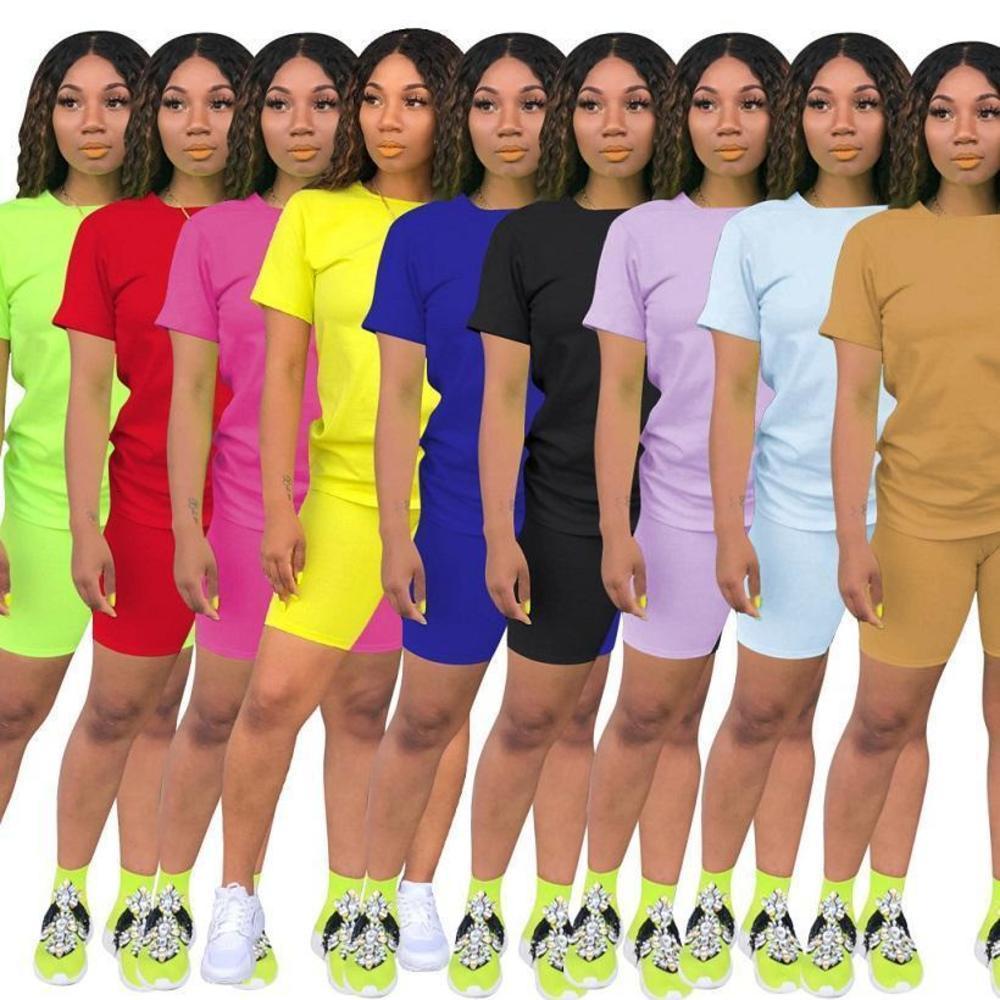 Designer Pink 2 Piece Outfits Cousssuit Брюки Установить Fitsuit Футболка с коротким рукавом BodyCon Женщины Летняя Одежда Повседневная Jogger Suit 825