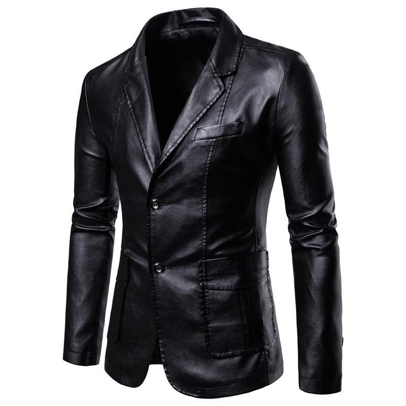 Ceketler erkek Faux Giyim Bahar ve Sonbahar Slim Kore Versiyonu Yakışıklı Motosiklet Deri Ceket