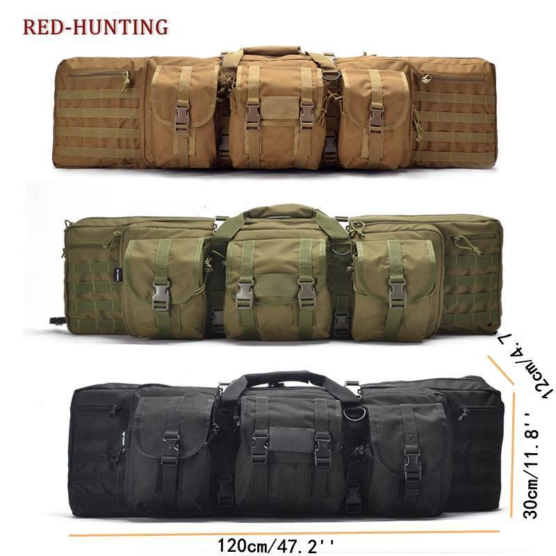 Sachen Säcke 2021 Schwere 120 cm 47 '' Taktisches doppeltes langes Gewehr Pistole Gun Tasche Sgun Transporthülle W / Rucksack Abschlussbarer Fach