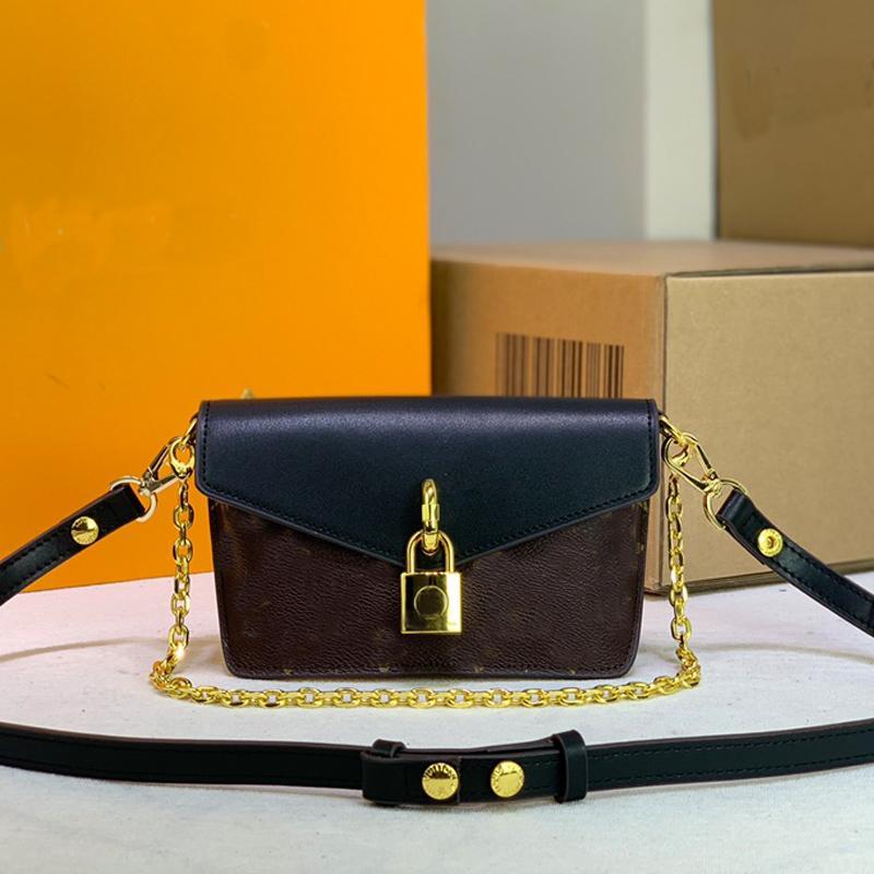 Chaîne sous-bras sac sacs sacs sacs à main sacs à main véritable serrure en cuir véritable serrure épaule amovible bandoulière Hasp lettre imprimé doré métal