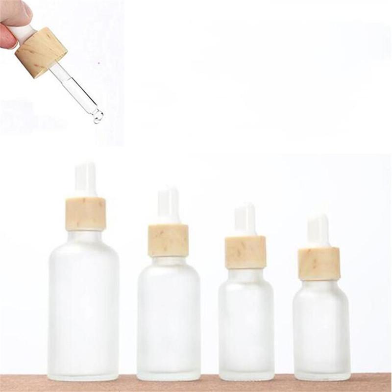10ml 15ml 20ml 30ml 50ml garrafa-gotinha de vidro fosco com tampão de bambu imitado frasco de frasco de frasco de frasco frasco frasco frasco