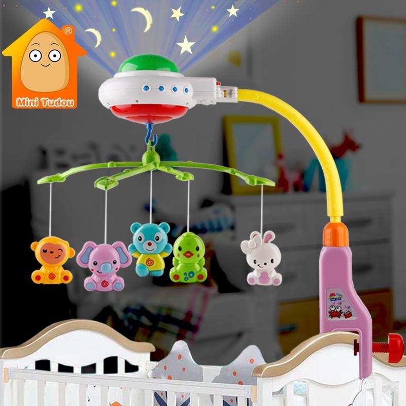 Детская кроватка мобильная игрушка музыкальная проекция младенческая кровать колокольчик красочные новорожденные вращающиеся погремушки раннее изучение образовательной игрушки для ребенка 210315