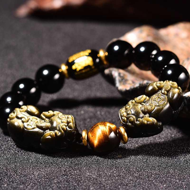 Feng shui regalo doble pi xiu obsidiana corazón sutra pareja pulsera para hombre y mujeres atrae la riqueza buena suerte joyería