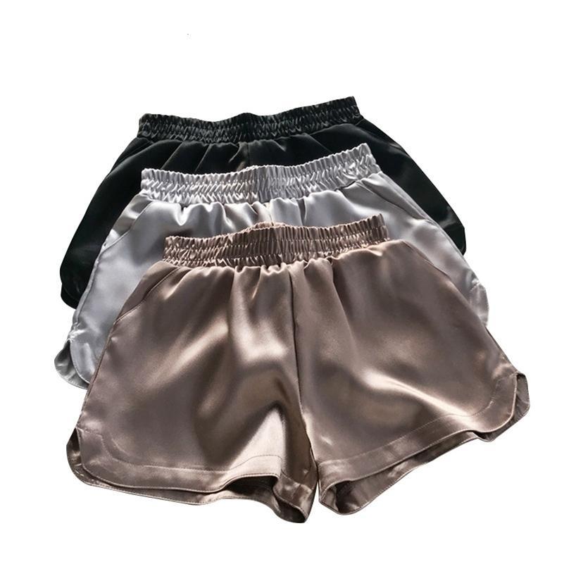Summer Casual Women Bottoms Mujeres Satin Shorts Faux Seda Pantalones cortos Calientes Brillante Brillo Pierna Pantalón corto Pantalón corto de cintura 914- 210306