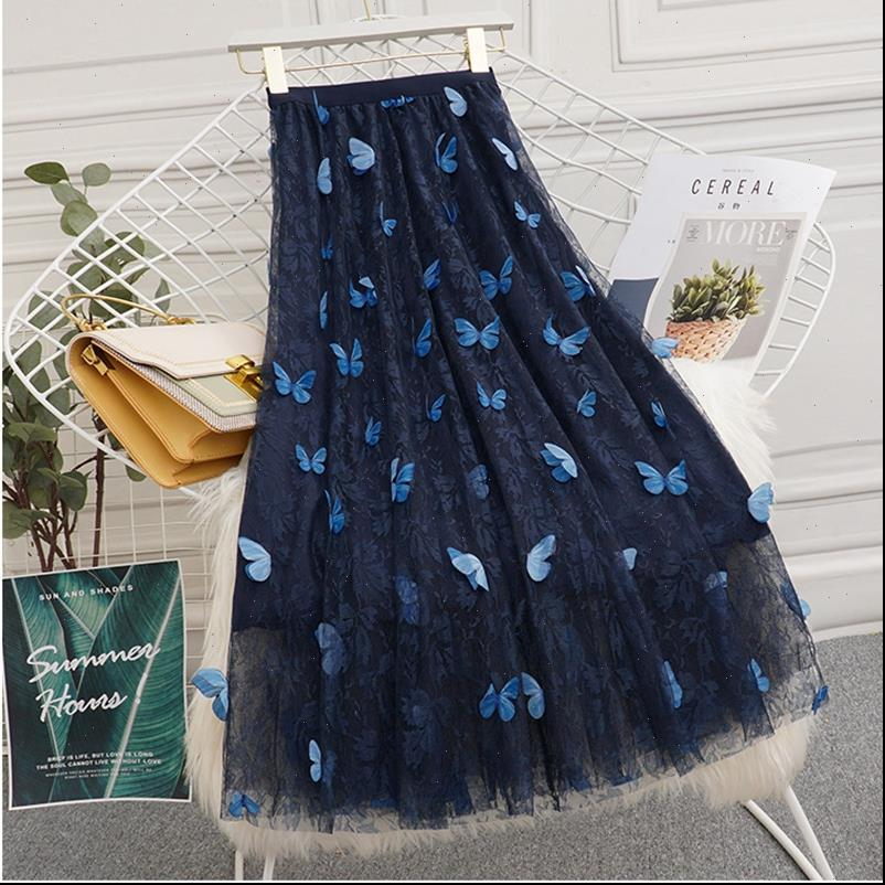 3D Butterfly Chiffon Embroidery Floweral Women Skirt Mesh Pleated 3 Layers Long Tulle Tutu Jupe Longue