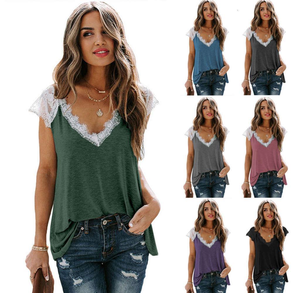2020 Kurzarm T-Shirt Damen New Sommer Wear Lose Casual Spitze Spleißen V-Ausschnitt Top