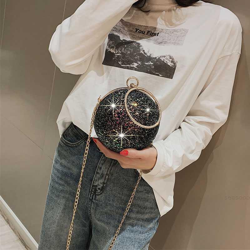 Çok yönlü ins süper ateş Kore çanta kadın 2020 yeni bir omuz messenger taşınabilir moda zincir pullu küçük yuvarlak çanta