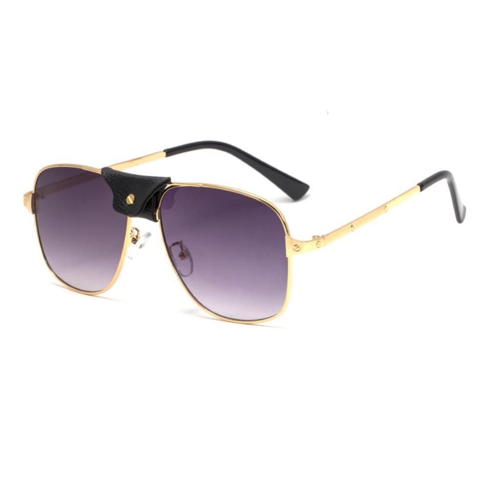 2020 nuevas gafas de sol Hombre ESW00275 Steampunk cuero decorativo gafas de sol
