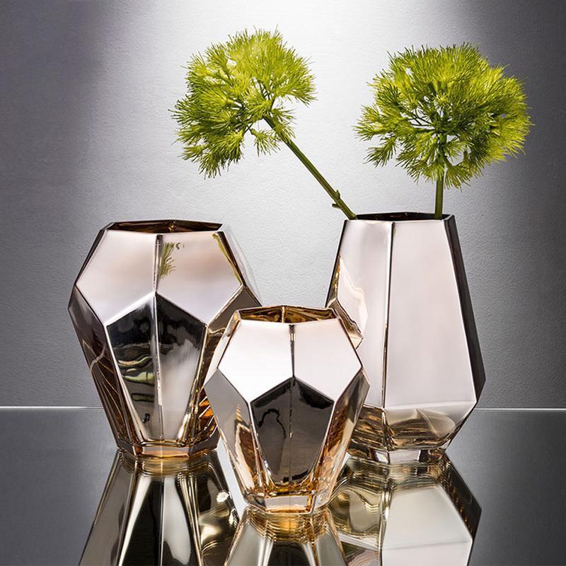 الحديث الذهبي الكهربائي الزجاج زهرية الاصطناعي المجففة زهرة زهرية سطح المكتب فن الحرفية الشمال الديكور المنزل هدية الزفاف