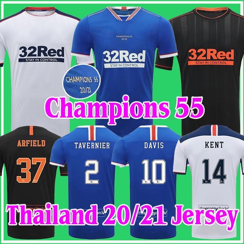 2020 2021 Glasgow Rangers FC Soccer Jersey 20 21 قمصان كرة القدم الرئيسية Third Defoe Morelos Kent Champions 55 الكبار مجموعة تايلاند موحدة