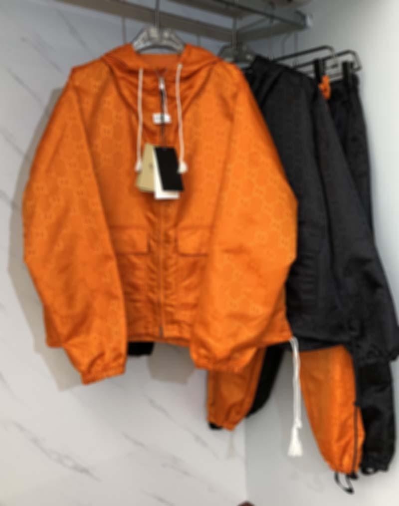 2021 Neue Winter Herrenjacke Mode Jacquard Nylon Paar dünne Männer und Frauen Männer Kleidung Jacken Schwarz Orange