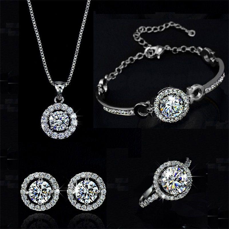 Mode 18k Gold Silber Überzogene Österreichische Kristall Halskette Ohrringe Ring Schmuck Set Für Frauen Damen Jubiläum Hochzeit Schmuck Set 240 T2