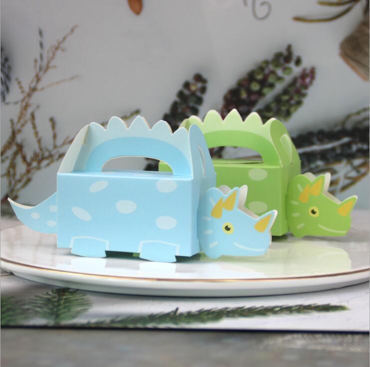 Kreativer Dinosaurier-Design-Hochzeits-Pralinen-Süßigkeiten-Boxen-Favorit-Papier-Paket-Box für Kinder-Geburtstags-Party-Dekor Backenverpackung 100pcs / lot