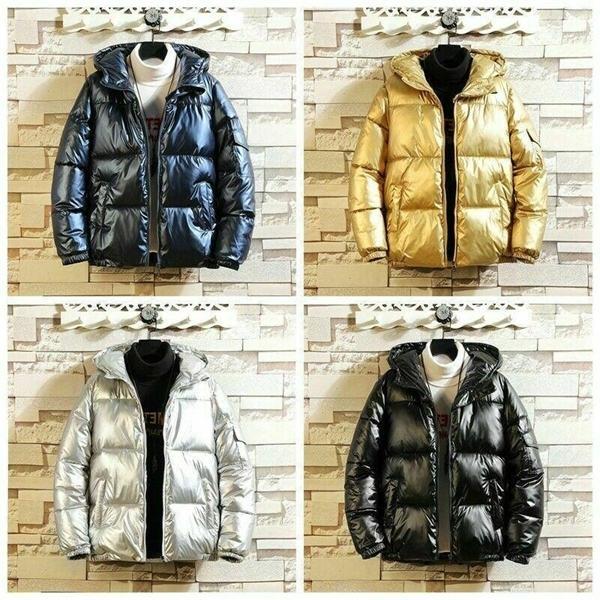 Erkekler Kadın Kapşonlu Kirpi Ceket Parlak Parka Kapitone Yastıklı Ceket Sıcak Dış Giyim Chic Altın Ceket 923-4541