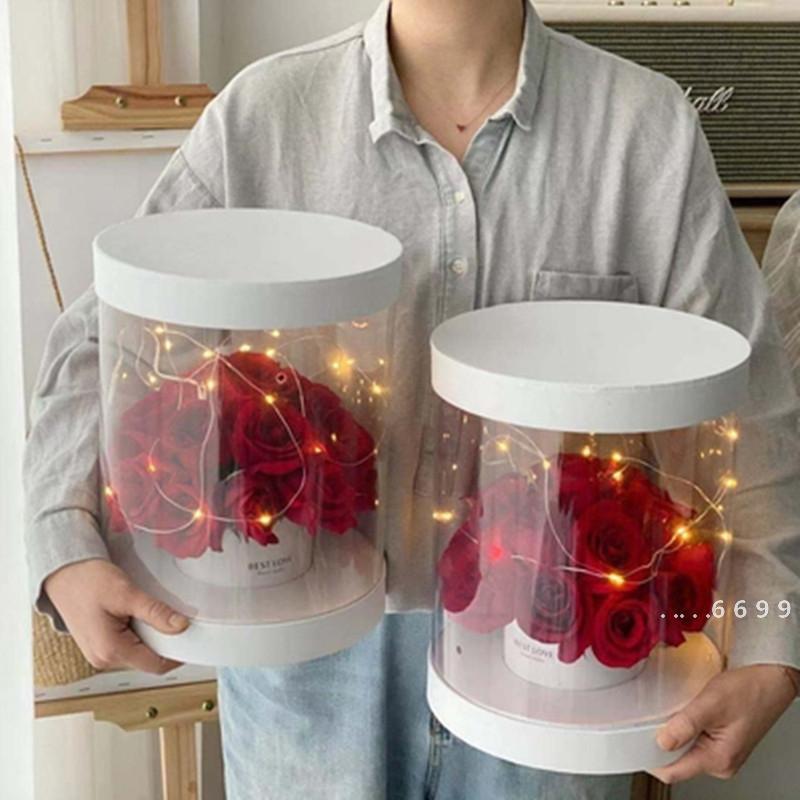 واضح جولة صناديق زهرة عيد ميلاد الزفاف شفافة pvc زهرة هدية تغليف مربع عيد الحب عيد الأم بائع الزهور اللوازم البحرية الشحن FWA4157