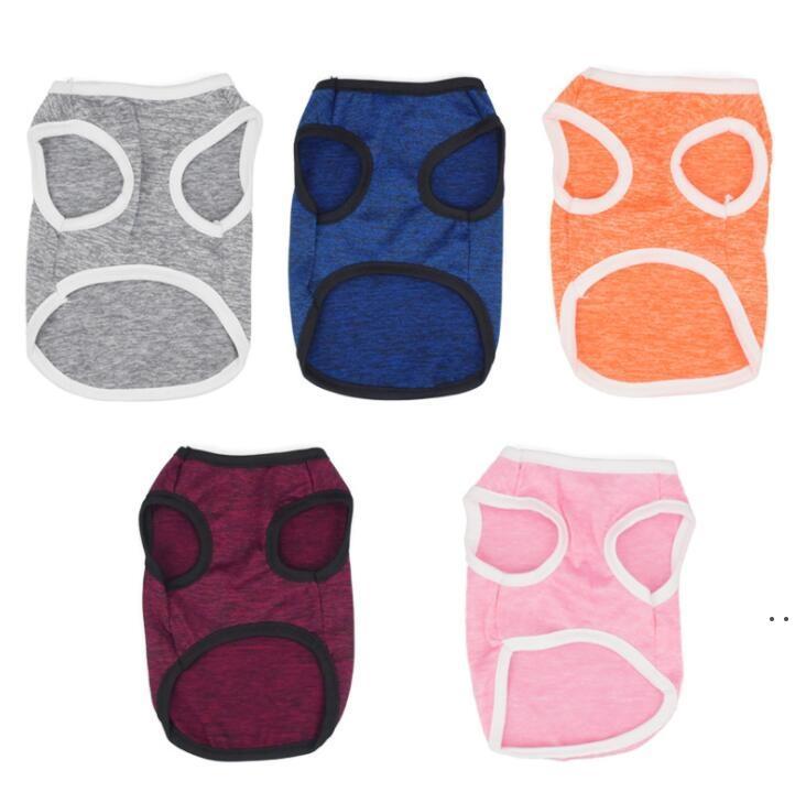 Pet Clothing Fashion Pure Color Top Shirts Vest Cotton Clothes Candy Color Dogs Vest Dog Apparel HWB5139