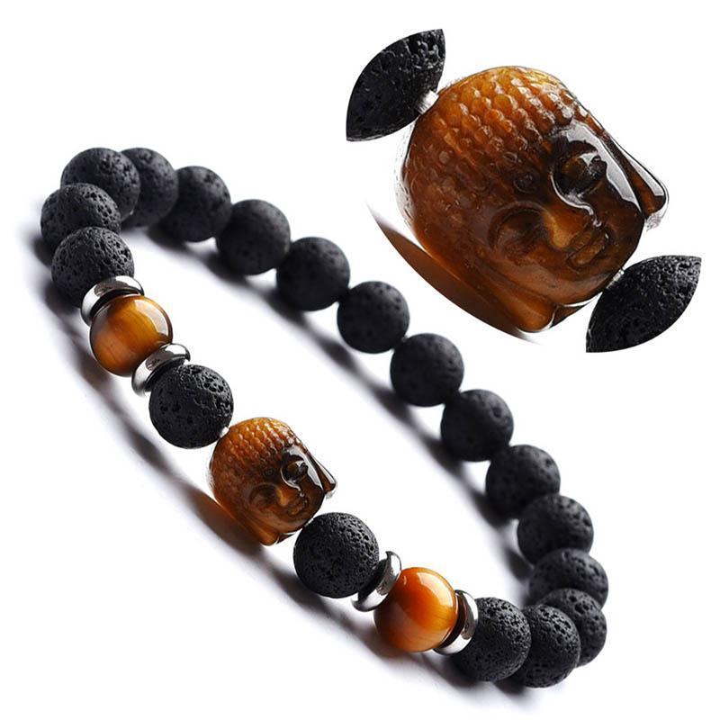 Druzy esculpido pedra natural Buda cabeça pulseira mulheres lava grânulos pulseira homens yoga charme pulseiras jóias pulseras byz-11