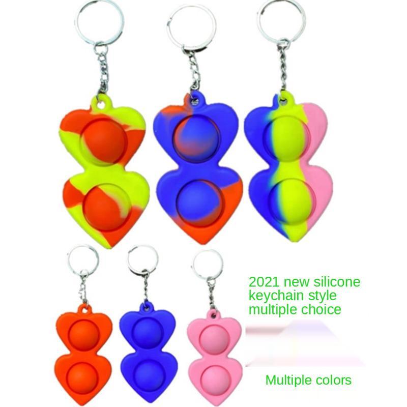 50 pcs Simples Dimple Keychain Fidget Sensory Push Pop Bolha Bolha Brinquedo Penhasco Esprema Silicone Bolhas Steree Relief dedo Brinquedo para Adulto GG3507