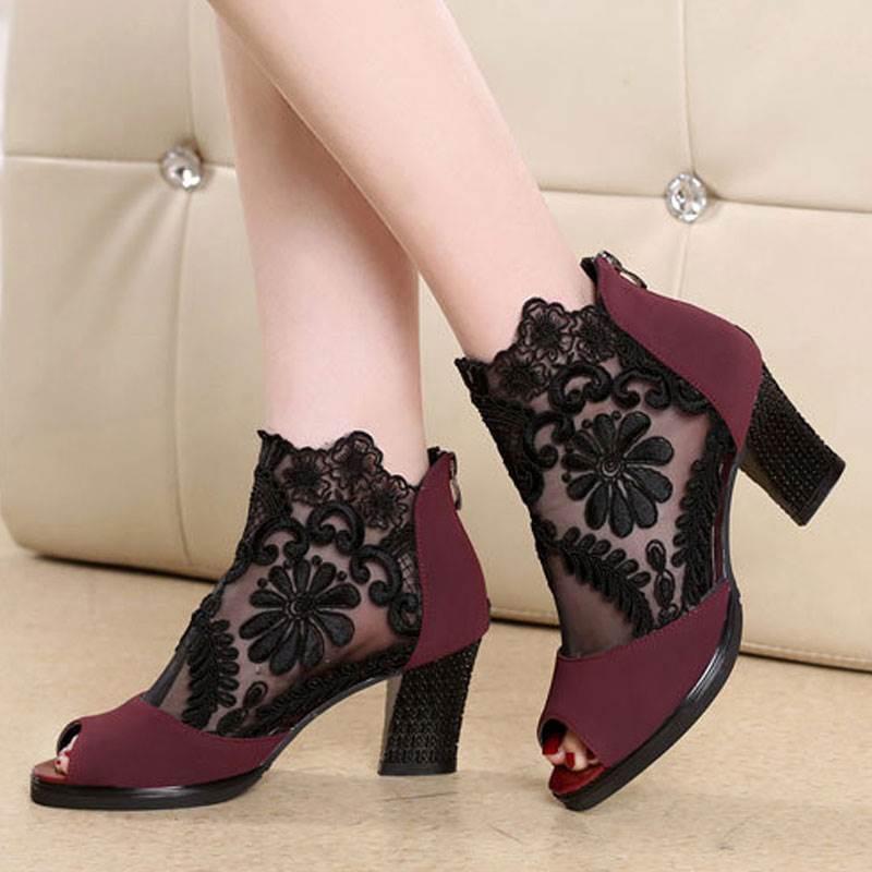 Сандалии мода женщин Zip дамы лодыжки каблуки синтель туфли повседневные открытые носки кружева вечеринка zip обувь женщина