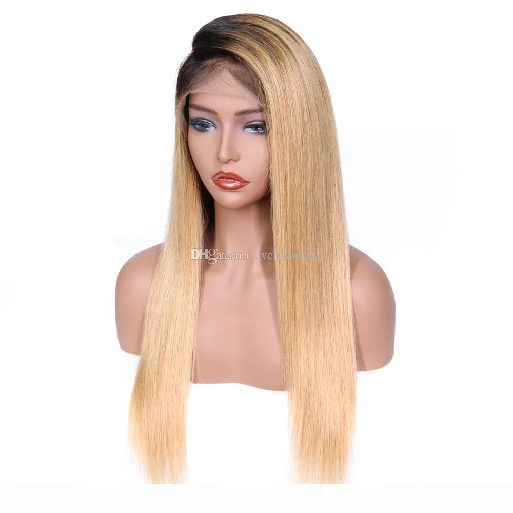 9A бразильский 150 плотность OMBRE цвет T1B 18 полных кружева человеческие парики с детскими волосами прямые кружевные парики волос