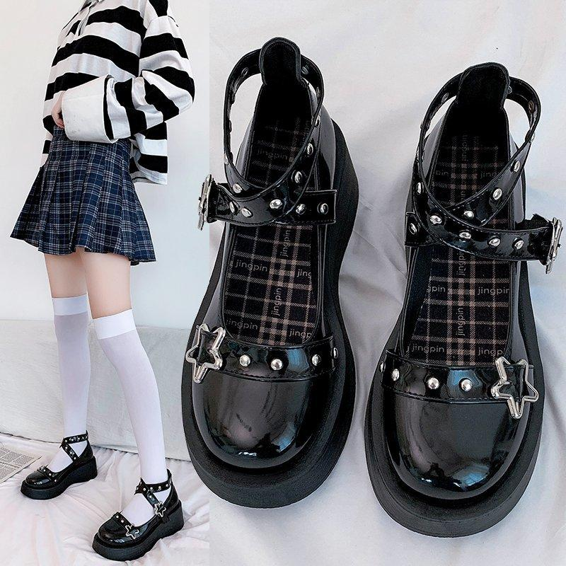 Lolita Ayakkabı Yıldız Toka Mary Janes Ayakkabı Kadınlar Çapraz Bağlı Platform Ayakkabı Patent Deri Kızlar Perçin Rivet Casual 8570n