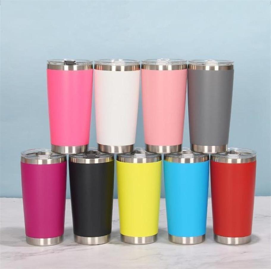 18 Farben 20 Unzen Tumbler Edelstahl Vakuum isoliert Doppel Wand Weinglas Thermalbecher Kaffee Bier Becher mit Deckeln für Reisen