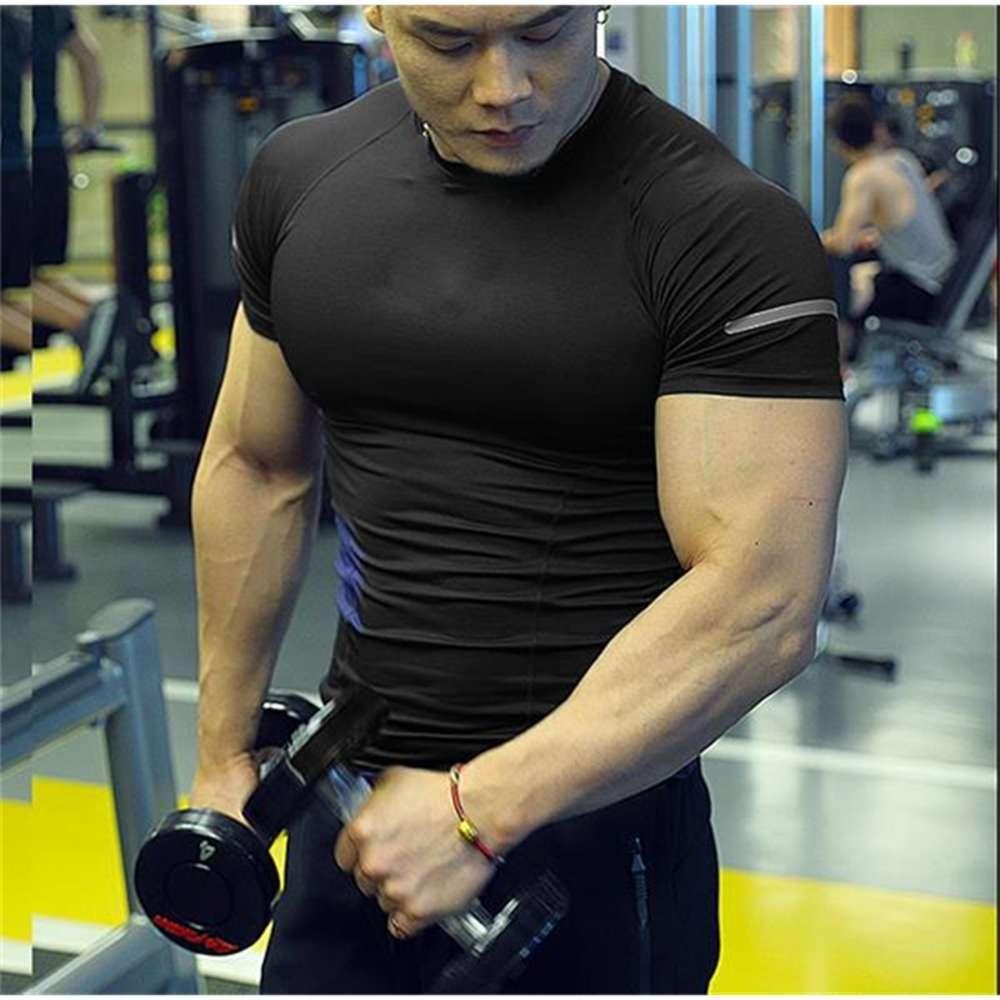 Колготки с короткими рукавами мужская баскетбольная трасса и поле Fitness Suit Brows Sports Quick Suishing T-рубашка Жилет