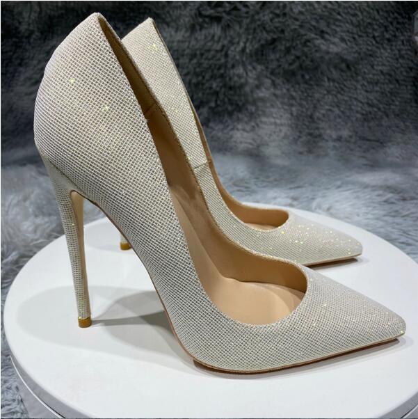 Bombas sapatos de salto alto feminino 8cm 12 cm 10 cm tamanho grande 45 salto fino sapatos de casamento cinzento clube nightclub pontudo dedos vermelhos vestido de fundo