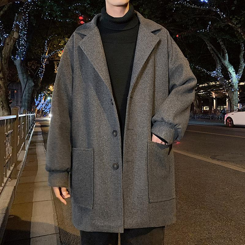 Мужская шерстяная смесь мужчины зимние осень с длинным рукавом утолщенное олинь осел осень осень осень мужская мода пункт свободный сплошной средней длины улицы