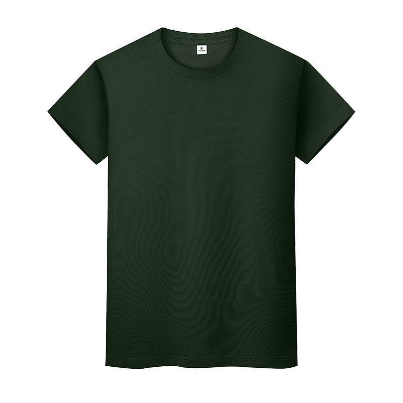 Nouveau t-shirt de couleur massif de col rond en coton de coton de coton à manches courtes et à manches longues LF4NI