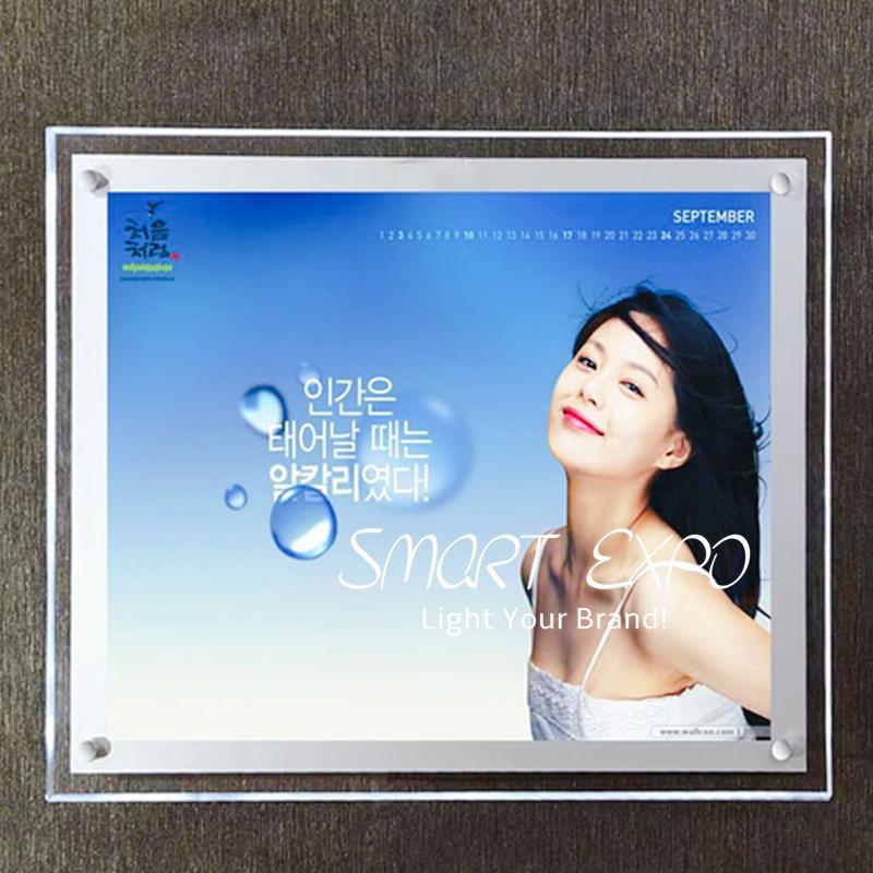 40 * 60cm High Luminosità LED LED Blocchi per poster di cristallo Display pubblicitario con pannello acrilico LED-2835 Side-lit Forte custodia in legno