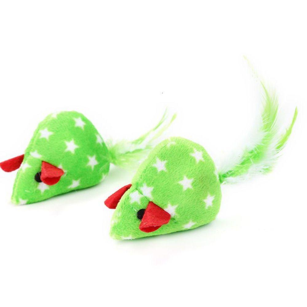 Cat 2pcs Mice Shape Pet Toys Catnip Interactive Toy Kitten Christmas Toy LX9C U8BT