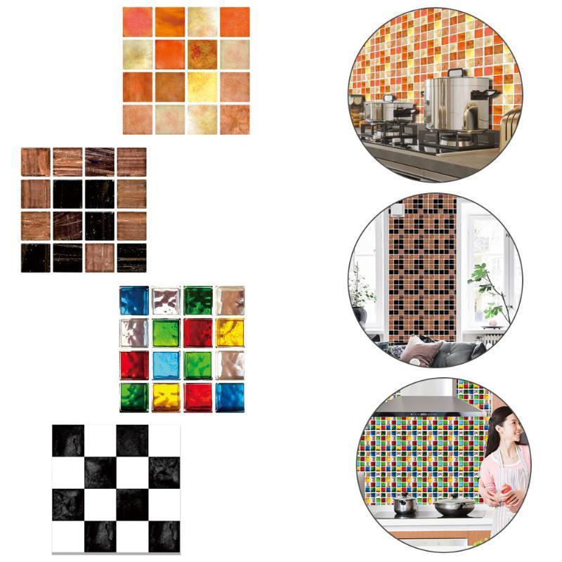 30pcs Flat Colorful Marble Mosaic Tiles Wall Sticker Peel and Stick Backsplash Kitchen Bathroom Wardrobe Wallpaper PVC Art Mural